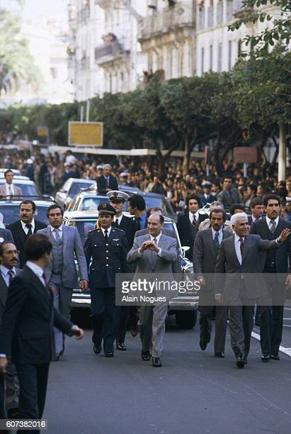 French president Francois Mitterrand is received by Algerian president Chadli Bendjedid in Algiers Mitterrand's visit is the second ever made by a...
