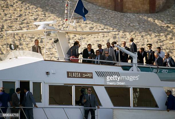 French President Francois Mitterrand meets with Egyptian President Hosni Mubarak on board the Alaqsa yacht during a state visit to Cairo