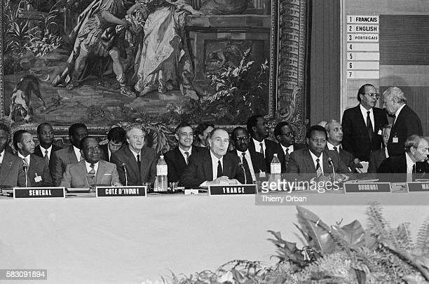 French President Francois Mitterrand Presiding Over the 12th Franco-African Summit in Paris, with Senegalese President Abdou Diouf, Ivory Coast...