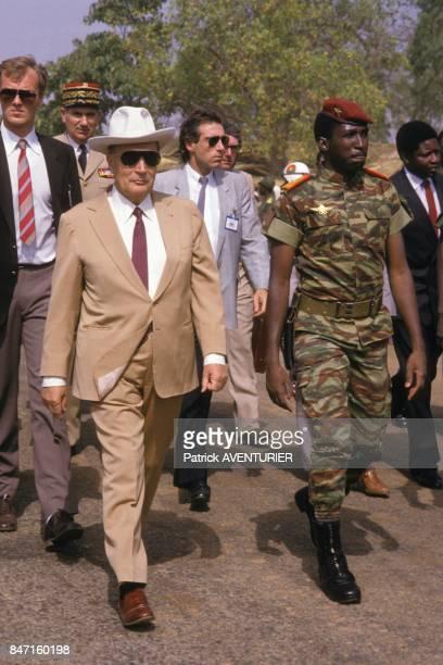 French President Francois Mitterrand received by Thomas Sankara President of Burkina Faso on November 18 1986 in Ougadougou Burkina Faso