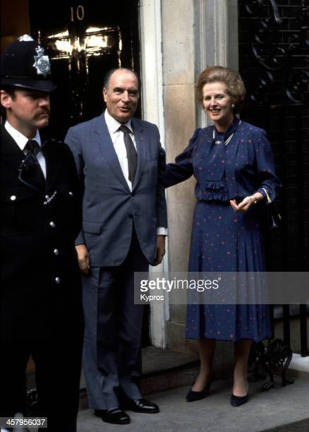 French President Francois Mitterrand visits UK Prime Minister Margaret Thatcher at 10 Downing Street London UK circa 1982