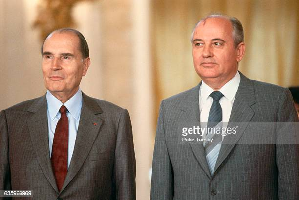 French President Francois Mitterrand visits with Mikhail Gorbachev at the Kremlin during a trip to the Soviet Union