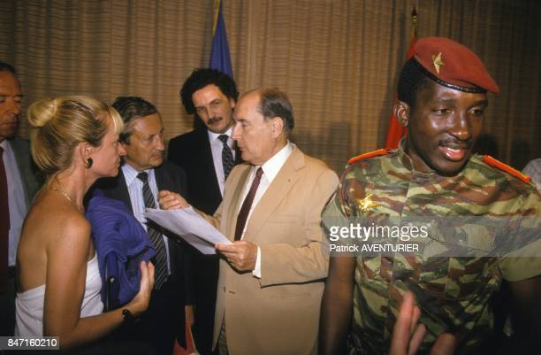 French President Francois Mitterrand with Thomas Sankara President of Burkina Faso and his son JeanChristophe Mitterrand advisor on African affairs...