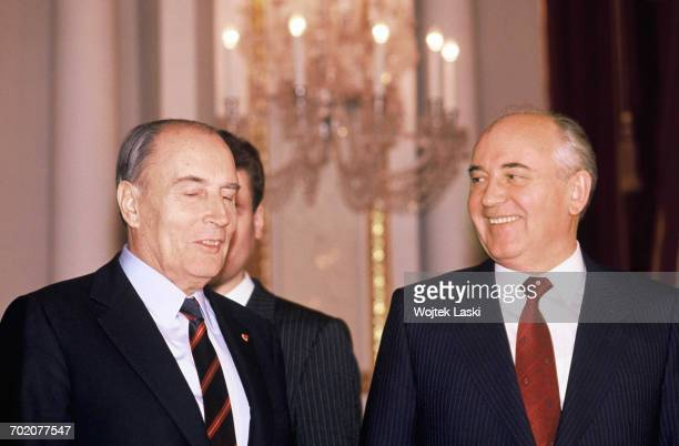 French President Francois Mitterrand's visit to the Soviet Union Pictured Francois Mitterrand and Mikhail Gorbachev Moscow Russia 6th December 1989