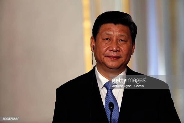 French President François Hollande gives a joint press conference with Chinese counterpart XI Jinping at the Elysee palace in Paris Chinese President...