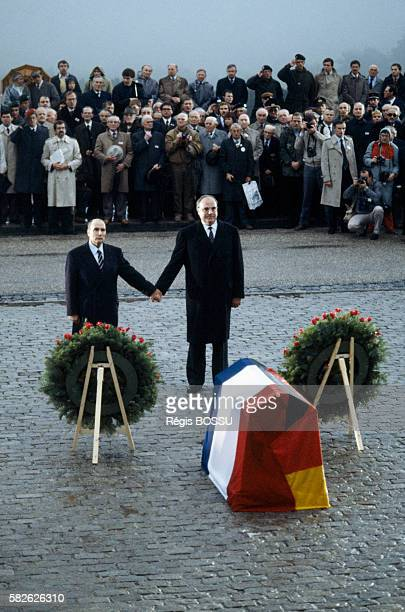 French President François Mitterrand and Chancellor of Germany Helmut Kohl pay homage to fallen soldiers from the First World War at a FrancoGerman...