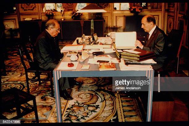 French President François Mitterrand with his Prime Minister Pierre Beregovoy at the Elysee Palace