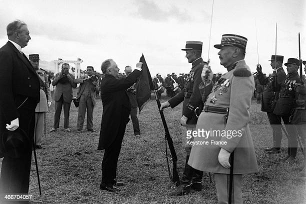 French president Gaston Doumergue during his trip in Morocco here with the 'Legion Etrangere' in October 1930 in Morocco