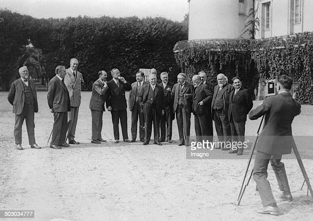 French President Gaston Doumergue with the ministers in Rambouillet. About 1930. Photograph.