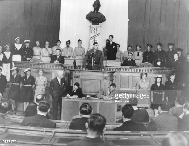 French President General de Gaulle addresses the French National Assembly in Algiers