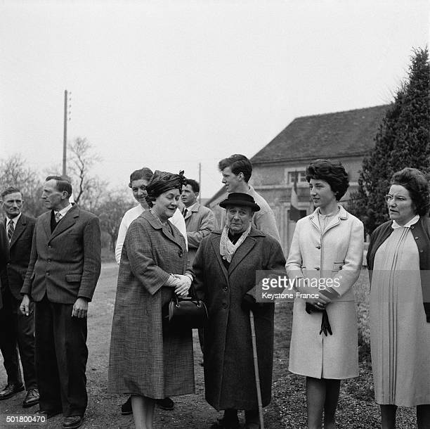 French President General de Gaulle's wife Yvonne de Gaulle back in the village of Colombey after they visited Eastern France on April 26 1963 in...