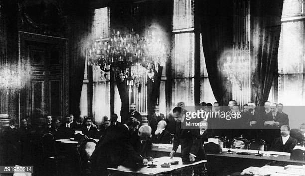 French President Georges Clemenceau seen here ratifying the Treaty of Versailles for the French Government on the 13th January 1920 The Treaty was...