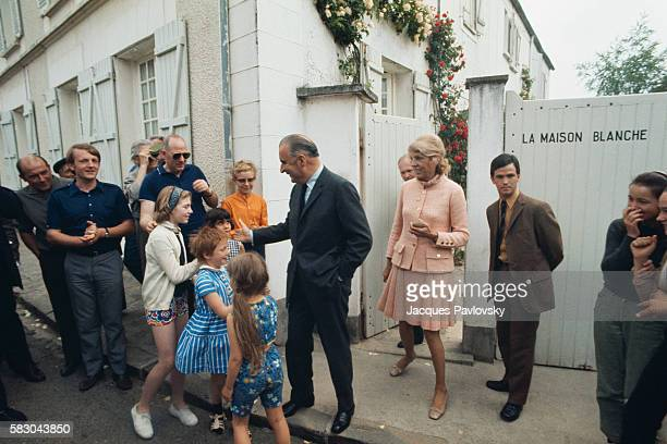 French President Georges Pompidou and His Wife Claude Playing with Children