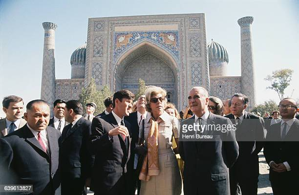 French President Georges Pompidou and his wife Claude traveling through the USSR at Rejistan Square in Samarkand in Uzbekistan