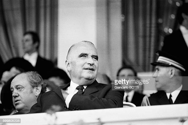 French President Georges Pompidou At The Grand Prix De L'Arc De Triomphe At Longchamp Racecourse In Paris France On October 3 1971