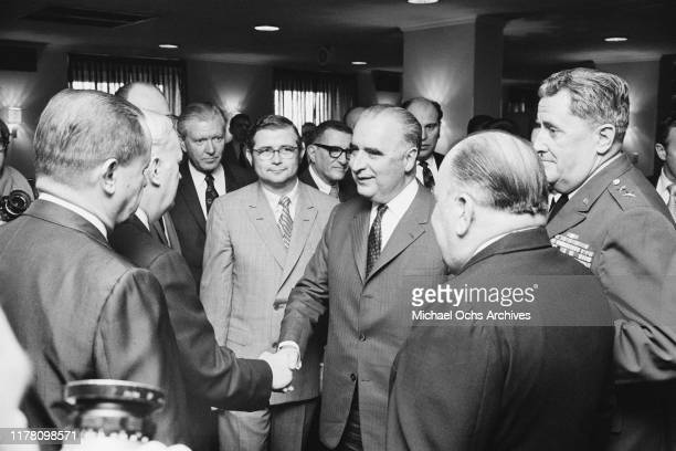French President Georges Pompidou at the National Press Club during a visit to Washington, DC, USA, 23rd February 1970.