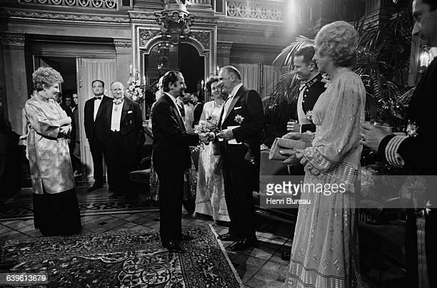 French President Georges Pompidou greets choreographer Maurice Bejart during an official visit to Belguim He was accompanied by his wife Claude...