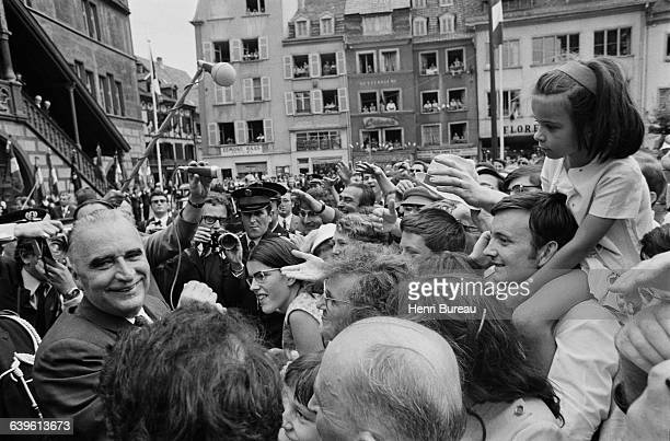 French President Georges Pompidou is greeted by the inhabitants of Mulhouse while on a trip in Alsace