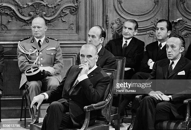 French President Georges Pompidou Minister of Economy and Finance Valery Giscard d'Estaing and Under Secretary General Edouard Balladur at the...