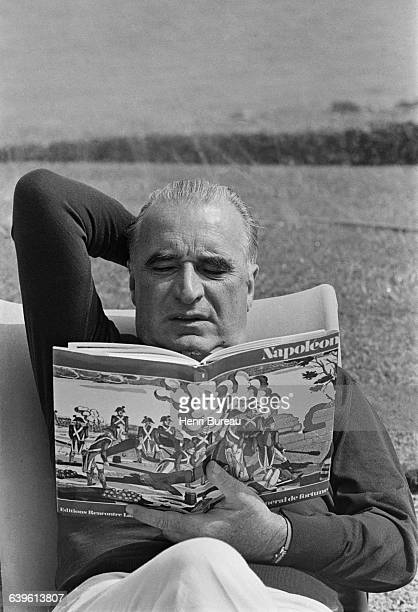 French President Georges Pompidou on a weekend vacation in Brittany at the Arcouest headland near Paimpol