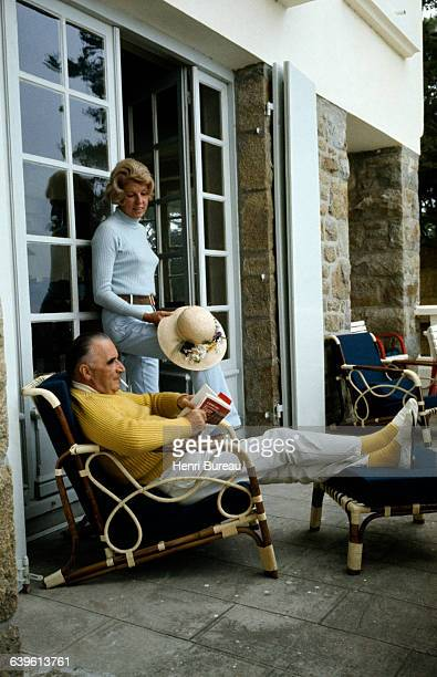 French President Georges Pompidou on vacation with his wife Claude