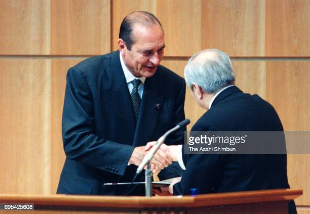 French President Jacques Chirac accepts a honorary doctorate at Keio University on November 18 1996 in Tokyo Japan