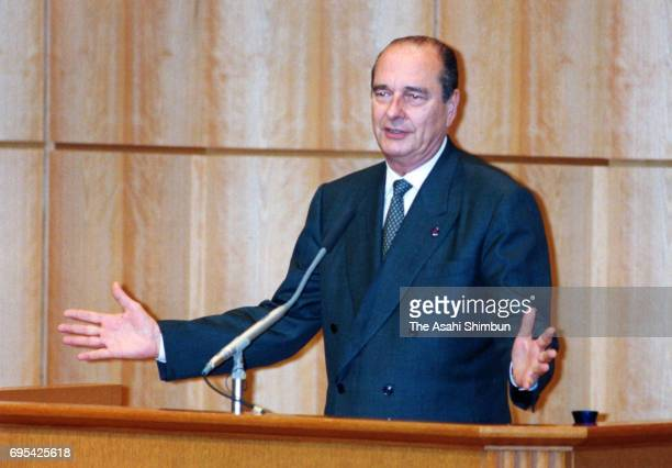 French President Jacques Chirac addresses after accepting a honorary doctorate at Keio University on November 18 1996 in Tokyo Japan