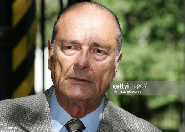 French President Jacques Chirac addresses the press 09 September 2005 when leaving the ValdeGrace military hospital where he has been hospitalized...