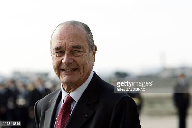 French President Jacques Chirac And Minister Of Defence Michelle Alliot-Marie Visits The French Delegation For Armement At The Istres Air Base 125 On...