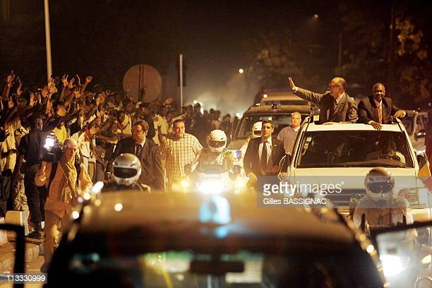 French President Jacques Chirac Arrives In Bamako For The 23Rd AfricanFrench Summit In Amadou Toumani Toure 'S Car And Is Welcomed By The Population...