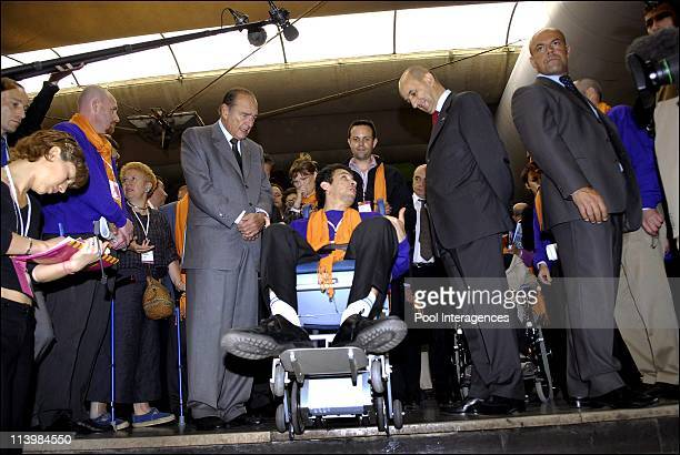 French President Jacques Chirac at the Montparnasse railway station In Paris France On May 18 2006 French president Jacques Chirac and SNCF CEO Louis...