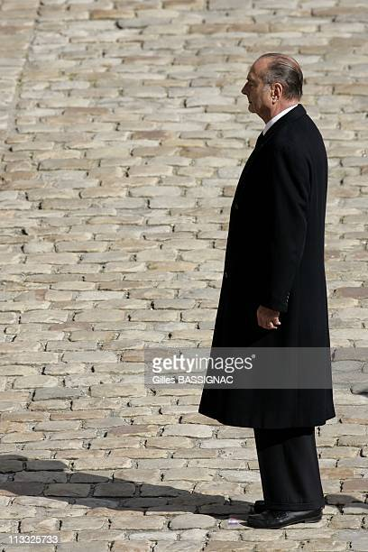 French President Jacques Chirac Attends The Funeral Ceremony For General Alain De Boissieu Dean De Luigne Charles De Gaulle'S SonInLaw At The...