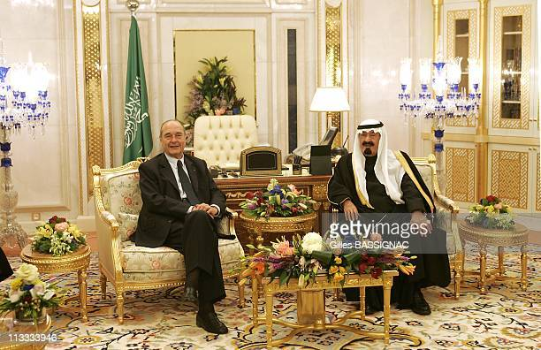 French President Jacques Chirac Begins ThreeDay State Visit To The Kingdom Of Saudi Arabia On March 4Th 2006 In Riyadh Saudi Arabia Here Meeting With...