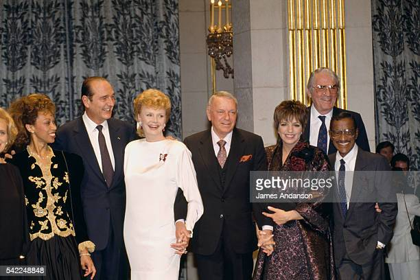 French President Jacques Chirac celebrates the 200th anniversary of the French Revolution with singer Frank Sinatra and other stars Altovise Davis...