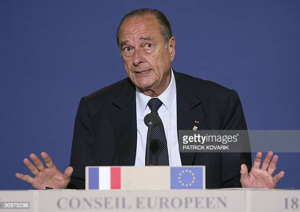 French President Jacques Chirac gives a press conference after the European Council summit in Brussels 18 June 2004.