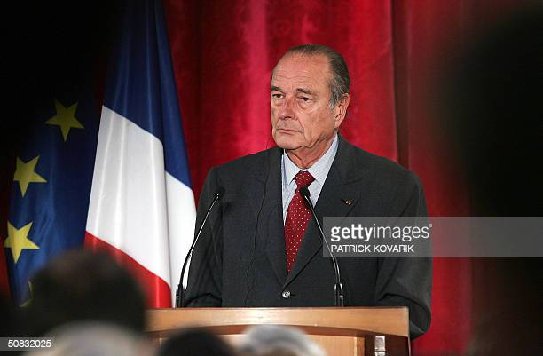 French president Jacques Chirac gives a press conference with German chancellor Gerhard Schroeder , 13 May 2004 in Paris, after a meeting in the...