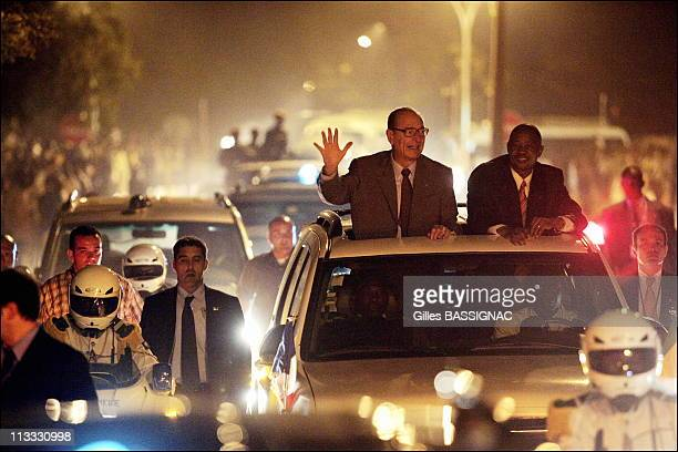 French President Jacques Chirac Is Arriving At Bamako For The 23Rd AfricanFrench Summit In Amadou Toumani Toure 'S Car And Is Welcomed By The...