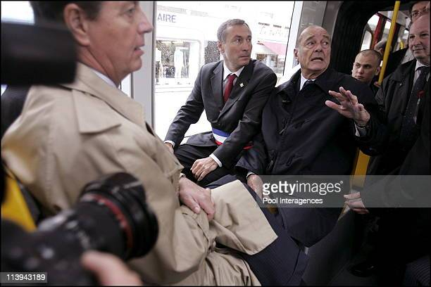 French president Jacques Chirac leaves the tramway of Mulhouse with Mulhouse Mayor JeanMarie Bockel In Mulhouse France On May 20 2006 French...