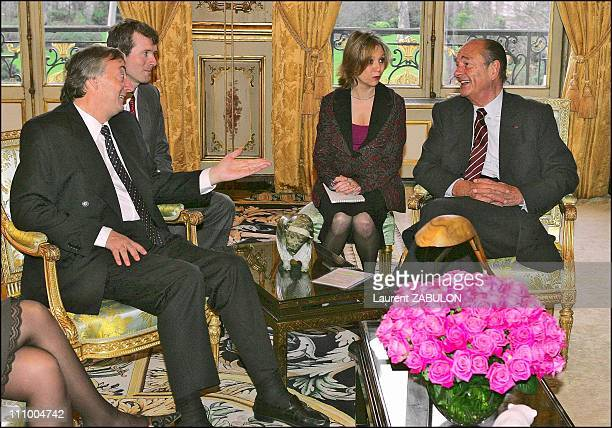 French President Jacques Chirac meets with his Argentinean counterpart Nestor Kirchner for talks at the Elysee Palace in Paris in Paris France on...