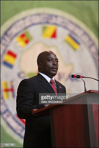 French President Jacques Chirac On Visit To The Republic Of Congo On February 5Th 2005 In Brazzaville Congo Opening Of The Conference About...