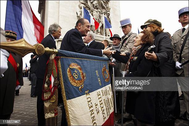 French President Jacques Chirac Presides The Wwi Armistice Day Ceremony At The Arc De Triomphe - On November 11Th, 2005 - In Paris, France - Here,...