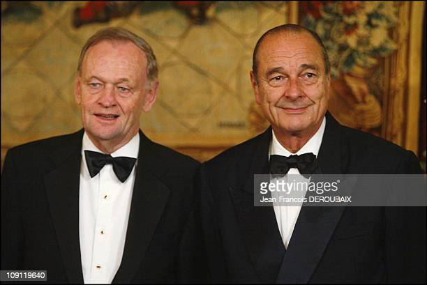 French President Jacques Chirac Receives Jean Chretien At The 'Quai D'Orsay' In Paris On December 9 2003 In Paris France Jean Chretien With Wife...