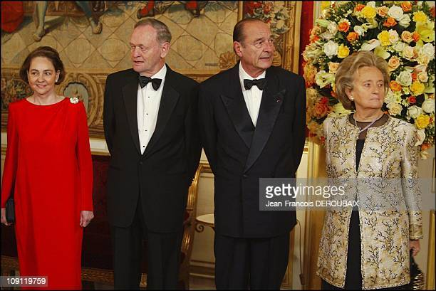 French President Jacques Chirac Receives Jean Chretien At The 'Quai D'Orsay' In Paris On December 9 2003 In Paris France