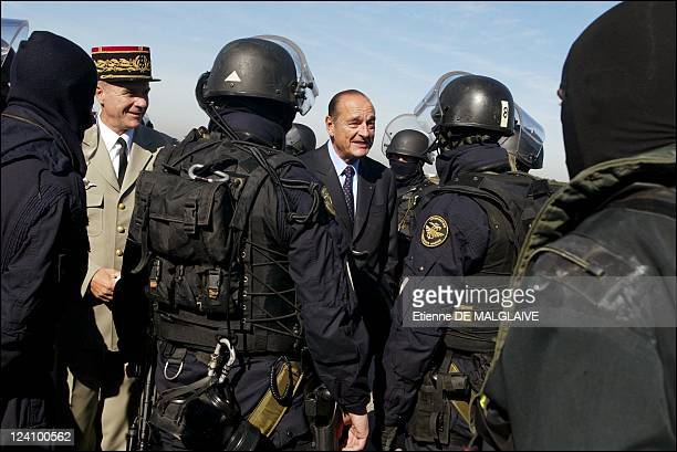 French president Jacques Chirac visits Air Base 110 In Creil France On September 30 2002 French Navy Commando Joubert