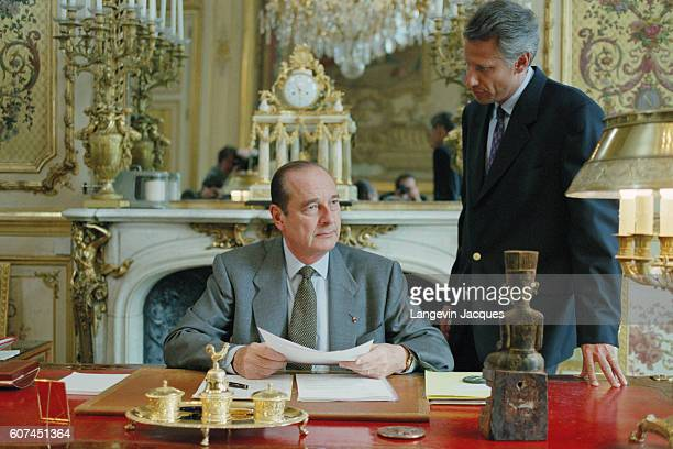French president Jacques Chirac with his SecretaryGeneral Dominique de Villepin at the Elysee Palace