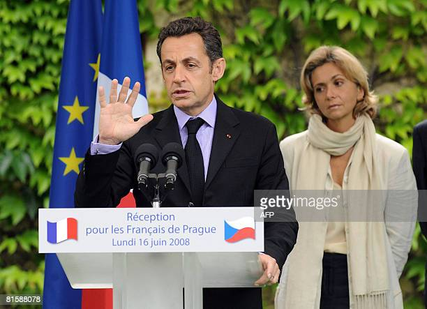 French President Nicolas Sarkozy addresses French citizens living in Czech Republic's capital on June 16 2008 at the French ambassy in Prague as...