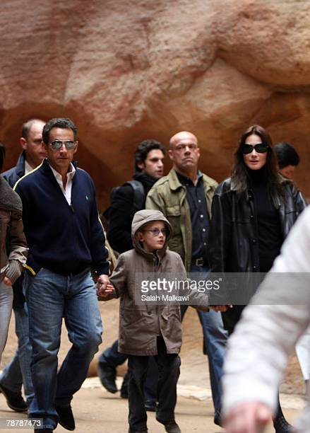 French President Nicolas Sarkozy And Carla Bruni Accompanied By Her Son Aurelien Enthoven Tour The Ancient