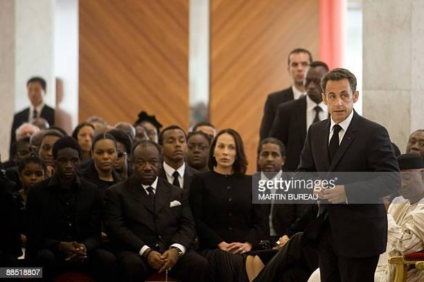 French president Nicolas Sarkozy and Gabonese defense minister Ali Ben Bongo attend the funerals of his father Gabonese president Omar Bongo on June...