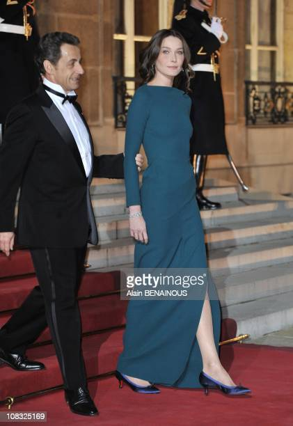 French President Nicolas Sarkozy and his wife Carla Bruni-Sarkozy at the Elysee Palace in Paris, France on March 02nd , 2010.