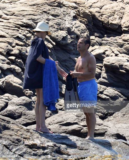French President Nicolas Sarkozy and his wife Carla BruniSarkozy vacation at le Cap Negre on August 1 2009 in SaintTropez France